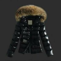 ⭐2020 Ladies Wet Look Puffer Coat Winter Shiny PU Padded Faux Fur Hooded Jacket