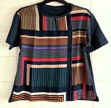 Purificacion Garcia Ladies' Navy w Stripes Short Sleeve Smart Top T-shirt Size M