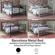 Barcelona Metal Bed Double King Size Frame 4FT 4FT6 5FT Patterned White Black