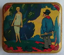 Antique Box Biscuits Lithographed Scene Woman Tennis Early 20th Art Nouveau