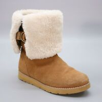 Lands End Ladies 10 B Tan Suede Leather Mid-calf Faux Shearling Lined Booties