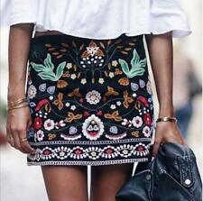 Celebrity Women FLORAL flower BLACK  EMBROIDERED MINI short SKIRT short dress