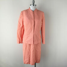 Kasper 12 Peach Linen Embroidered Skirt Suit Open jacket Career Cocktail EUC