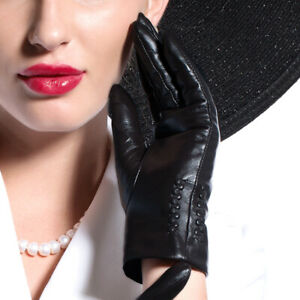 women new fashion soft real goat leather gloves black