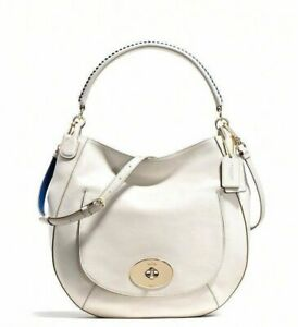 Coach Pebble Turnlock Hobo Li/Chalk bag nip nwts retail $350