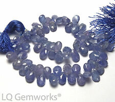 "8"" Strand TANZANITE 7-8mm Faceted Teardrop Beads NATURAL STONE /t36"