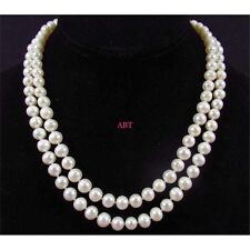 White Freshwater Pearl Drop Pearl Necklace Beaded 120cm Long Chain Rope Bead -UK