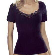"""Black Womens Girls Top Cotton Blouse T-shirt  """"Roxana"""" Short Sleeve"""