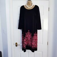RONNI NICOLE Ladies Black Velvet Feel Embroidered Paisley Print Dress Size 18
