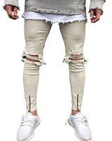 Men Street Stylish Stretch Denim pants Ripped Skinny Bottom zipper biker Jeans