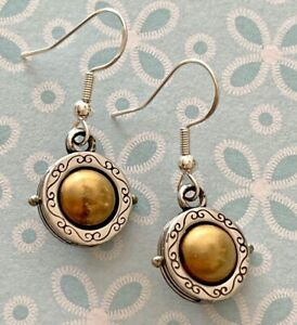 Brighton WISDOM Gold Pearls Surrounded By Silver Two-Toned Custom Earrings