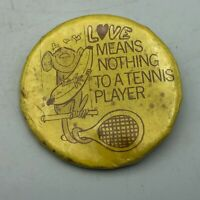 BAD CONDITION Love Means Nothing To A Tennis Player Monkey Banana Pin Button  F8