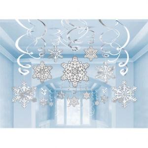 30 Christmas Party Frozen Winter Wonderland Snowflake Swirls Hanging Decorations