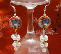 6-7mm White Round Natural Pearl with 18mm Red Cloisonne Dangle earring-ear589