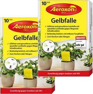 Aeroxon Gelbtafeln Gelbfalle 20x Gelbsticker Insektenschutz Fliegenschutz Garten
