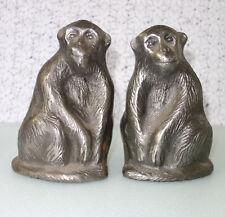 2 Cast Iron Monkey / Chimpanzee Statues Sculptures Figures Bookends Door Stops