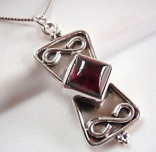 Red Garnet Necklace Sterling Silver Infinity Sign Symbolizes Everlasting Love