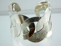 Vintage Mexico Sterling Silver Wide Interlocking Circles Cuff Bracelet 925