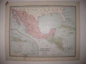 ANTIQUE 1884 MEXICO CUBA CENTRAL AMERICA WEST INDIES CARIBBEAN MAP PUERTO RICO