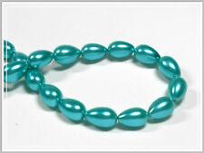 30 Glaswachsperlen Tropfen Glass Pearls 11*7 Glasperlen grün