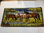 """Vtg Velvet Woven Western Tapestry Horse Mare/Foal Wall Hanging Picture 37""""X19.5"""""""