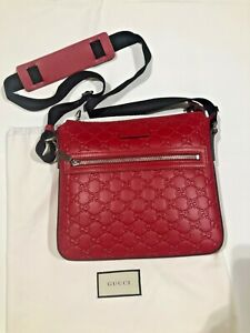 GUCCI NEW RED Leather Messenger Cross Body Signature Bag