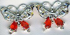 """925 Sterling Silver Red & Clear Butterfly Cubic Zirconia Stud Earings 5/8 x 1/2"""""""