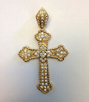Cross Religious Gold Plated Flower Cubic Zirconia Pendant Charm For Necklace