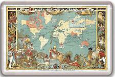 1886 VINTAGE BRITISH EMPIRE MAP OF THE WORLD FRIDGE MAGNET IMAN NEVERA