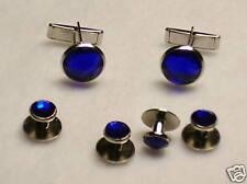 Cufflinks and Tuxedo Studs Silver Sapphire Blue  New