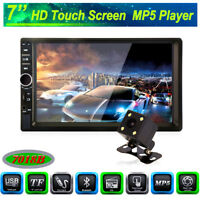 """7""""Car Stereo Radio Double 2 DIN Bluetooth MP5 Player Touch Screen+Camera FM AUX"""