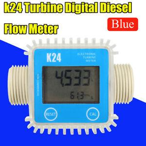 K24 LCD Turbine Digital Fuel Flow Meter Gauge Diesel Kerosene Chemicals Water UK