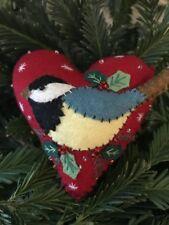 Addobbo albero di Natale cuore con uccellino in pannolenci