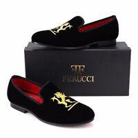 Handmade FERUCCI Men Black Velvet Slippers Flats loafers with Lion Crest