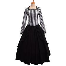 Retro Dress Gothic Victorian White Black Stripe Steampunk Reenactment Costume