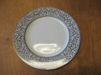 "Sango Fine China SPANISH LACE 3757 Dinner Plate 10 5/8"" Black Gold  4 available"