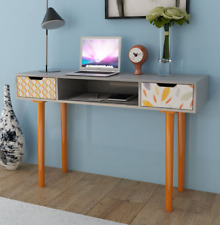 Vintage Writing Desk Office Storage Furniture Retro Console Table Wooden Drawer