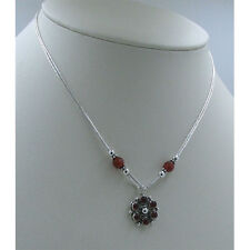 3 Strand 925 Liquid Sterling Silver Natural Carnelian Beaded Necklace