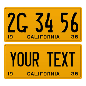 1 x Custom Personalized 1936 California License Plate with YOUR TEXT