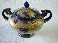 BEAUTIFUL ANTIQUE EARLY 20TH CENTURY COVERED SUGAR BOWL COBALT BLUE RAISED GOLD