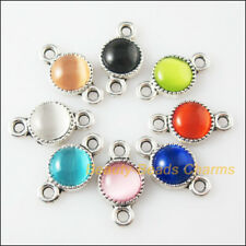 8 Charms Tibetan Silver Cat Eye Stone Round Pendants Connectors Mixed 10x18.5mm