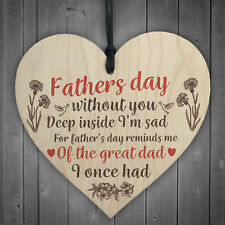 Great Dad Home Grave Garden Memorial Wood Heart Memory Fathers Day Plaque Gifts