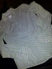 girls size 14 Justice green lime white striped button front shirt