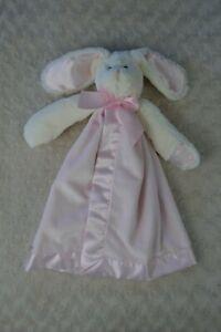 Bearington Baby Bunny Rabbit Lovey Security Blanket Pink White Bow NEW Snuggler