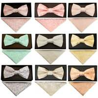 Handmade Floral Mens Bow Tie and Pocket Square Set Dickie Bow Set Wedding Prom