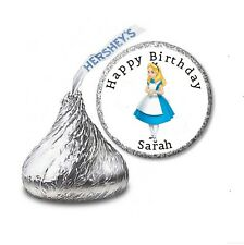 216 ALICE IN WONDERLAND HERSHEY'S KISS BIRTHDAY STICKER LABELS - Party Favors