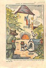 Caricature anti-nazi Loup Wolf Tchécoslovaquie Churchill John 1920 ILLUSTRATION