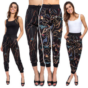 Women High Waisted Harem Pants Original Pattern Loose Fit Tapered Trousers FS383