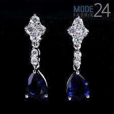 Damen Ohrring Ohrhänger echt 925 Sterling Silber Zirkonia 4,1ct Tropfen Blau