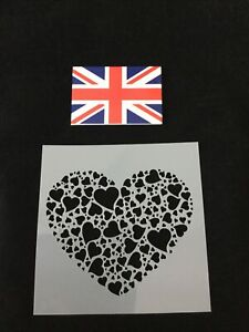 Little Hearts In A Heart Shape Stencil For Cake Decorating